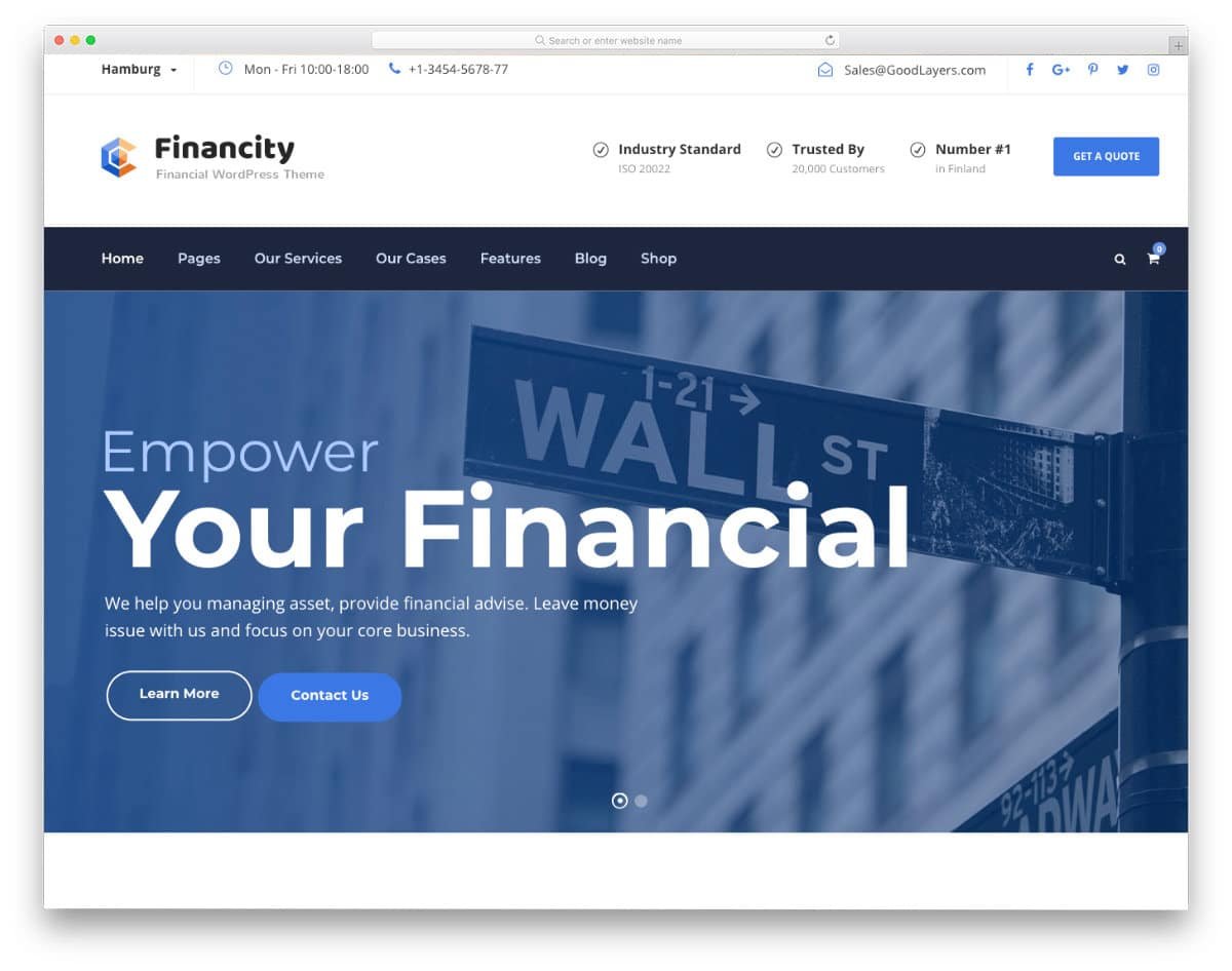 website template for finance and insurance companies