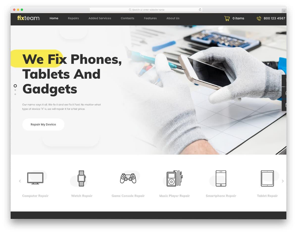 user-firendly computer repair web templates