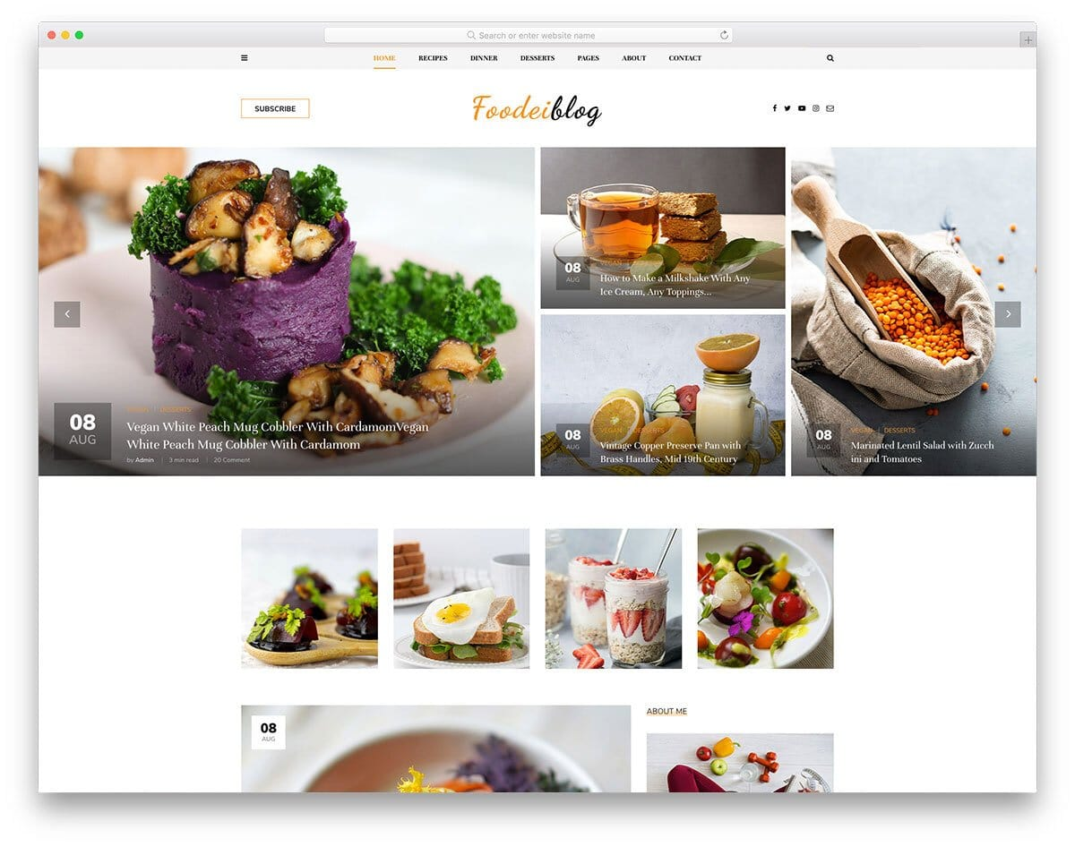 free bootstrap blog template for food blog