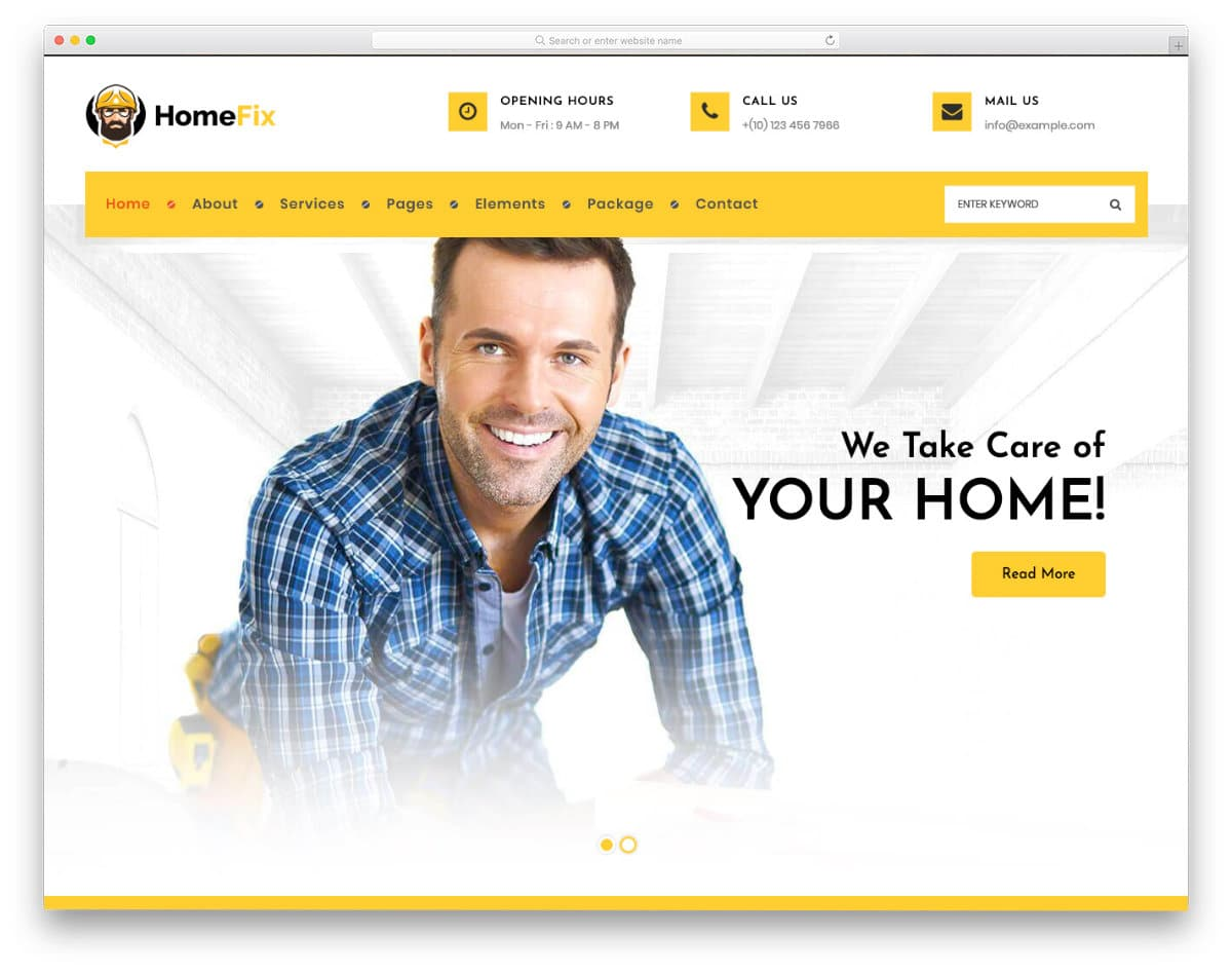 multipurpose handyman website template with plumbing services