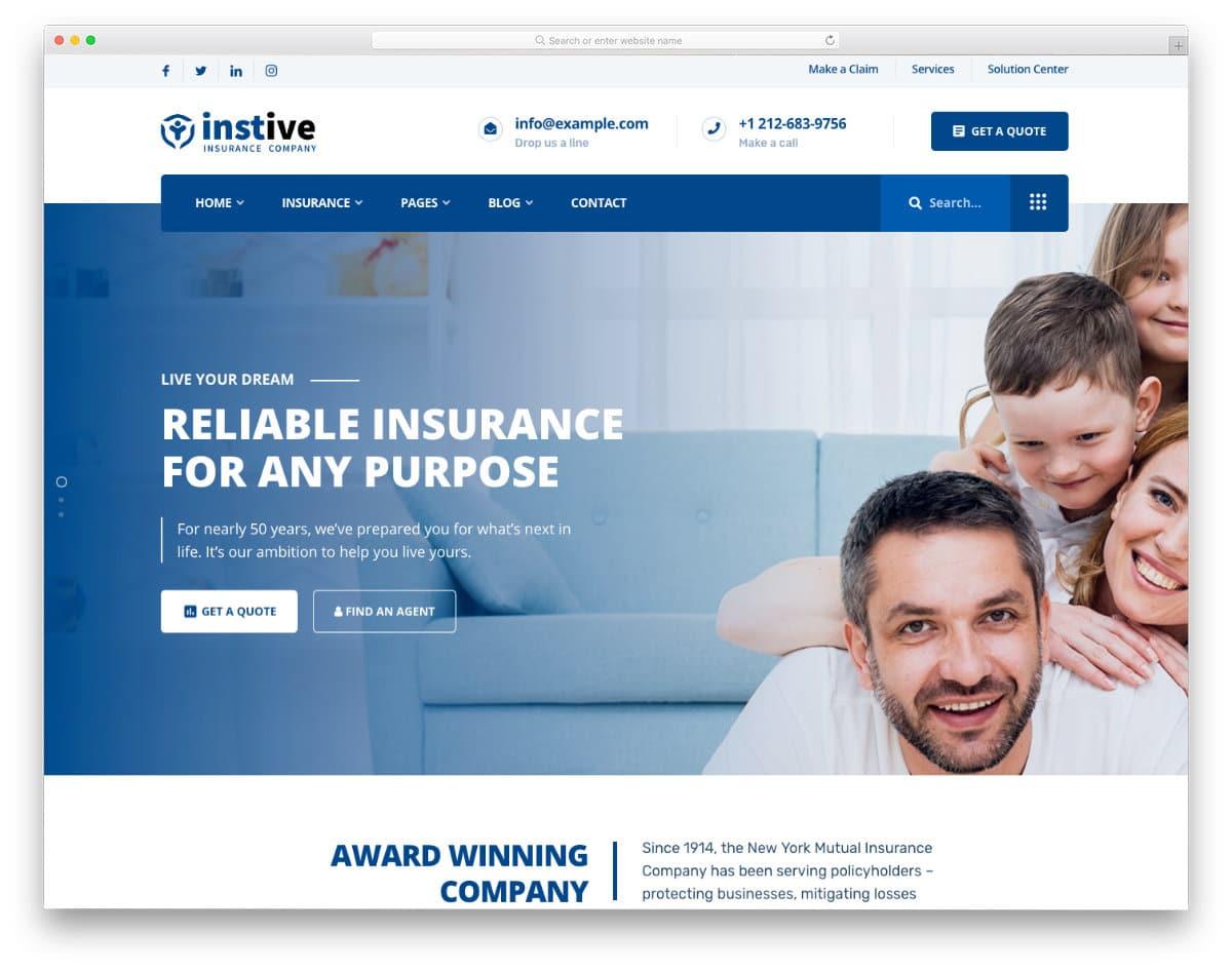 pure insurance website templates