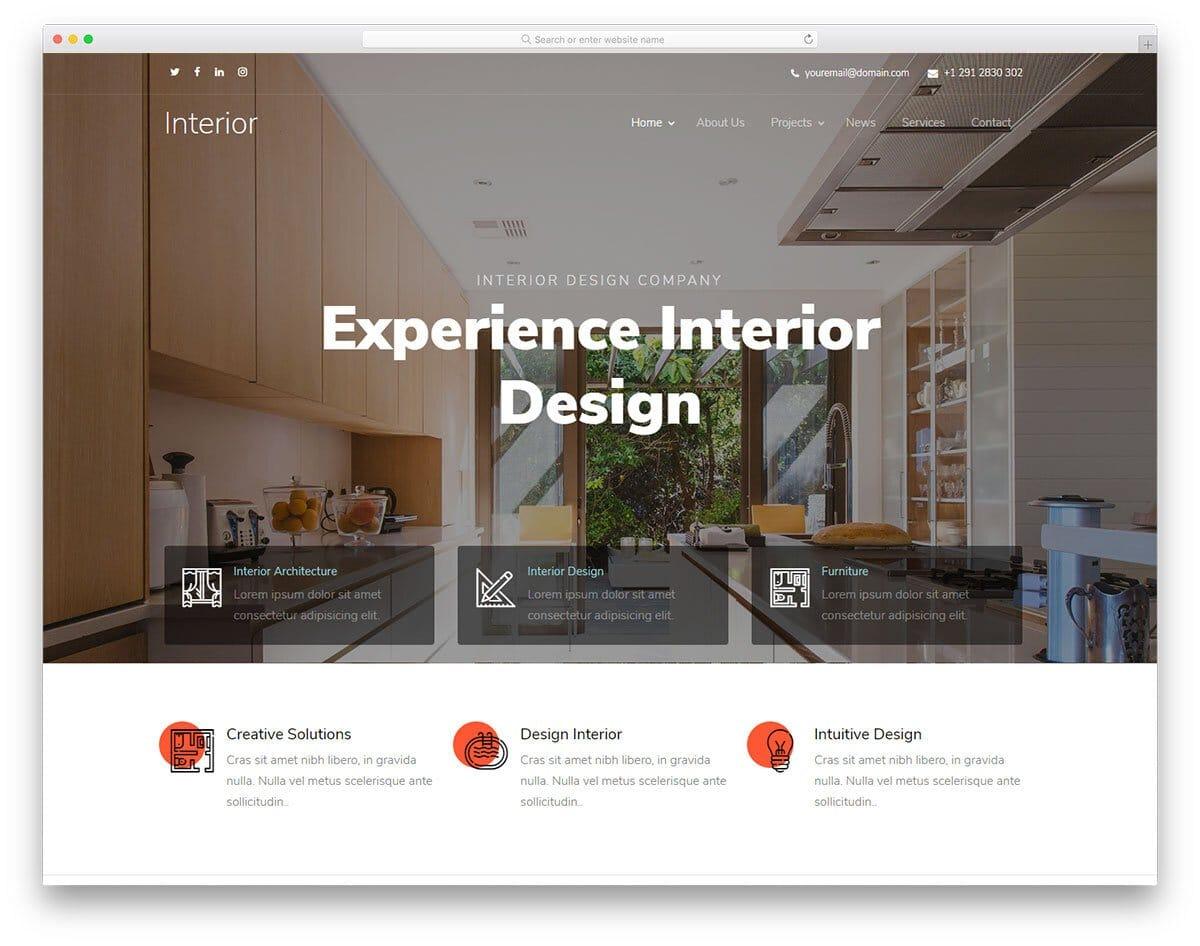 interior design kompozer website template
