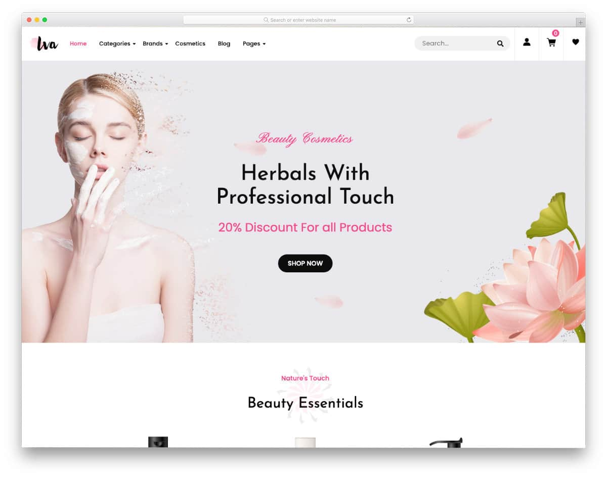 shopify landing page template for beauty stores