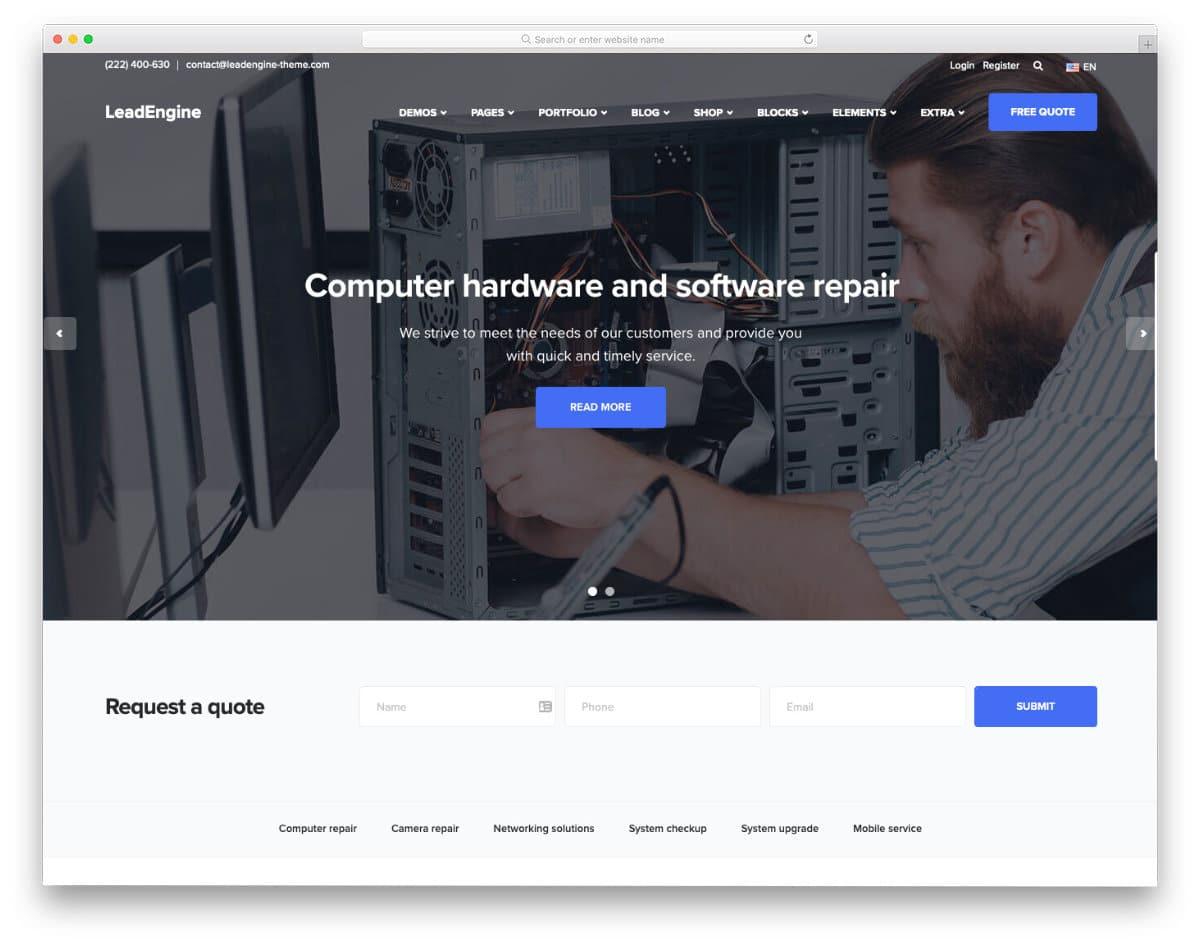 clean and modern computer repair web templates