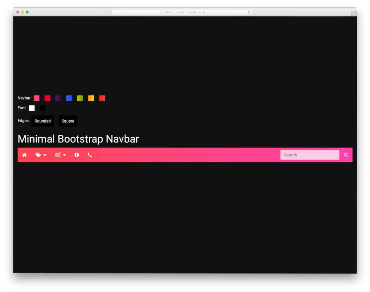 colorful bootstrap navbar example