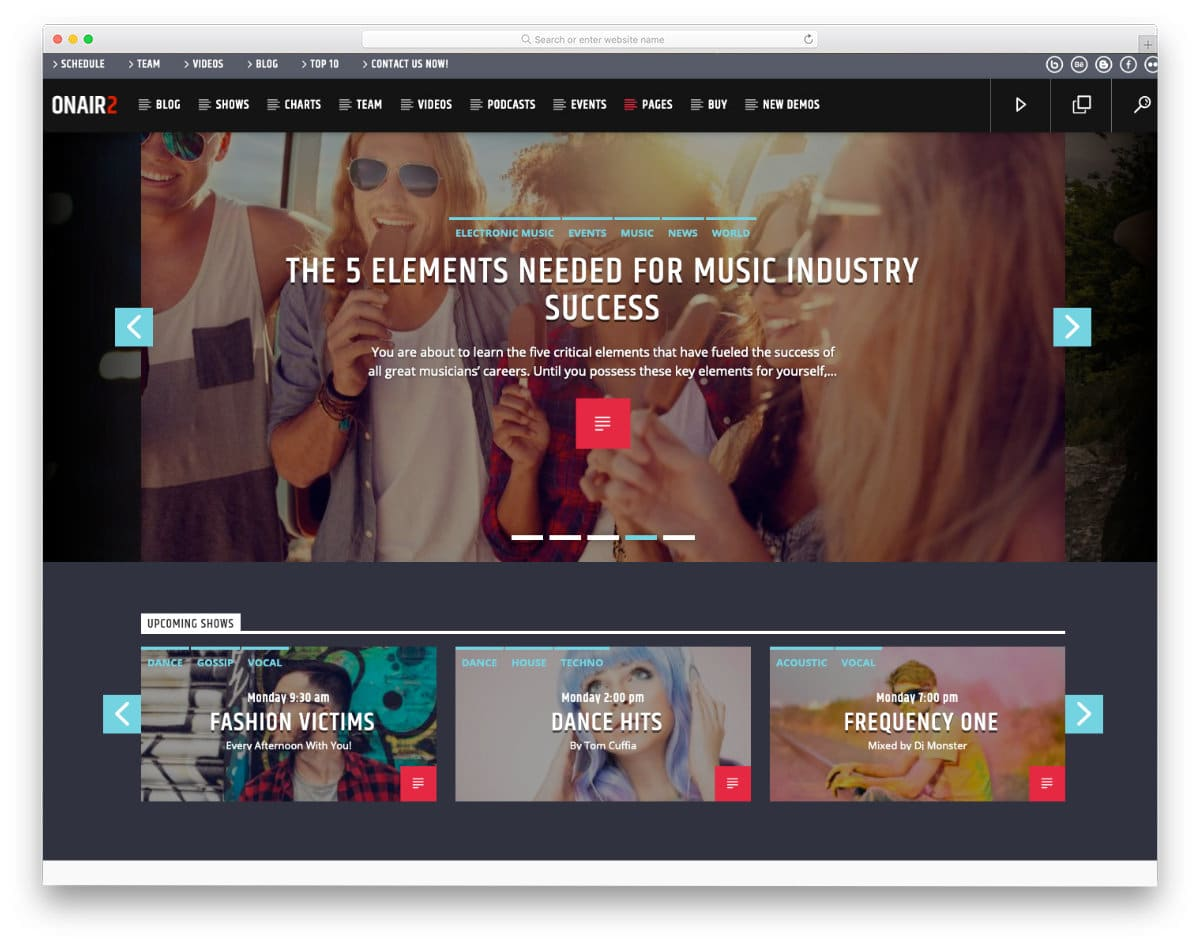 radio and live streaming website template