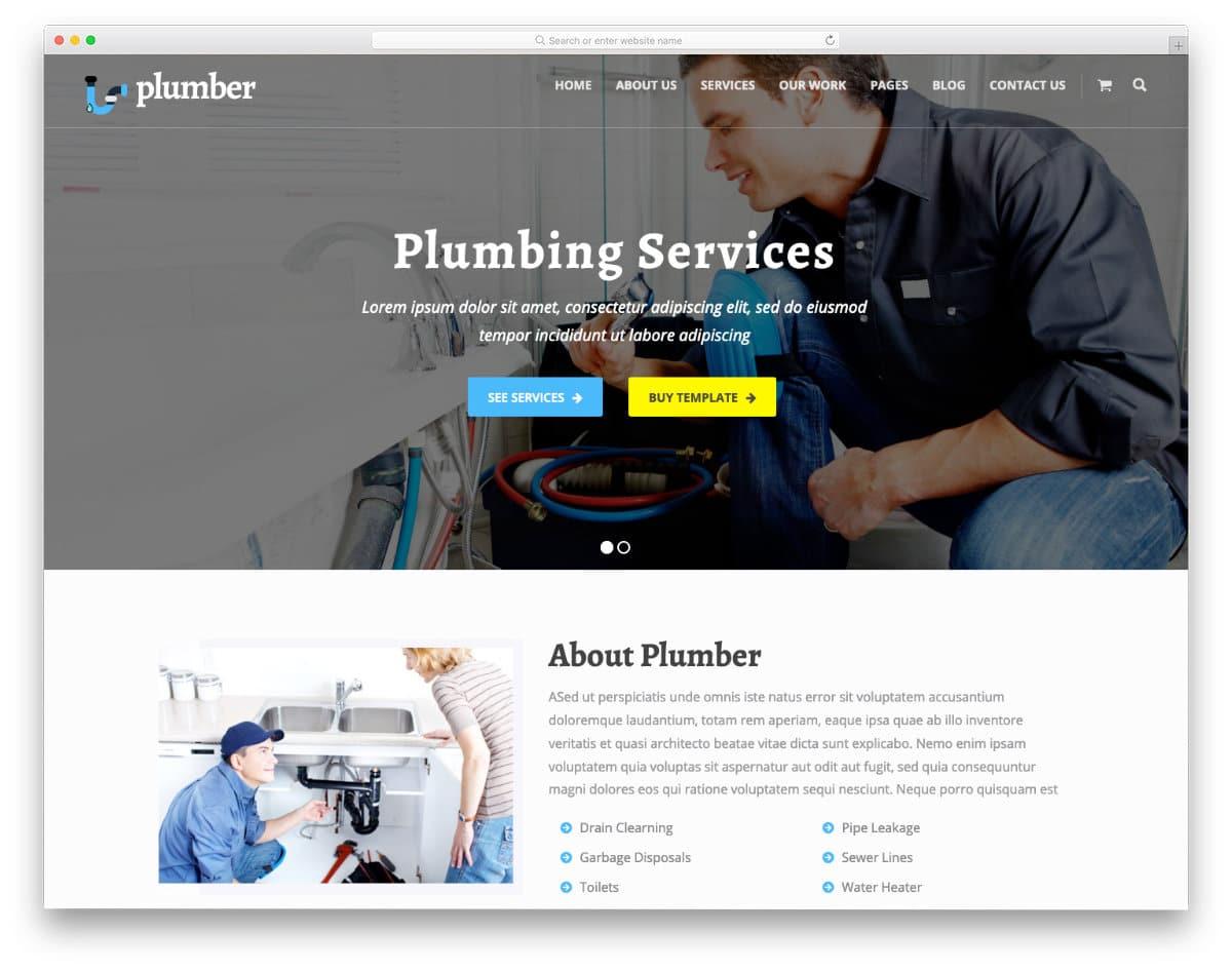 clean plumbing website templates