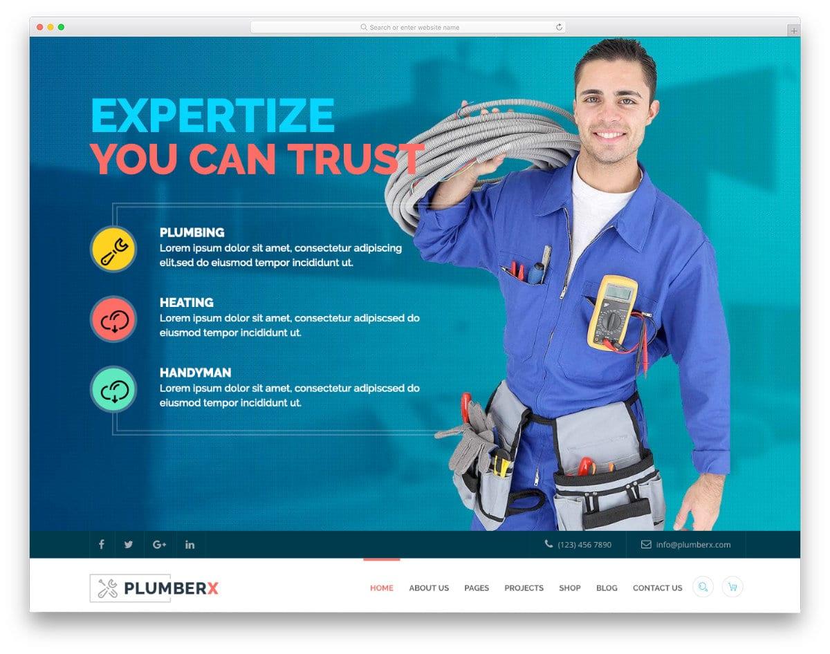 feature-rich plumbing website templates