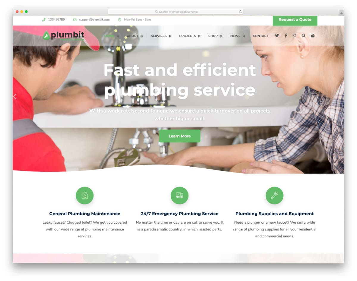 sensibly designed plumbing website templates