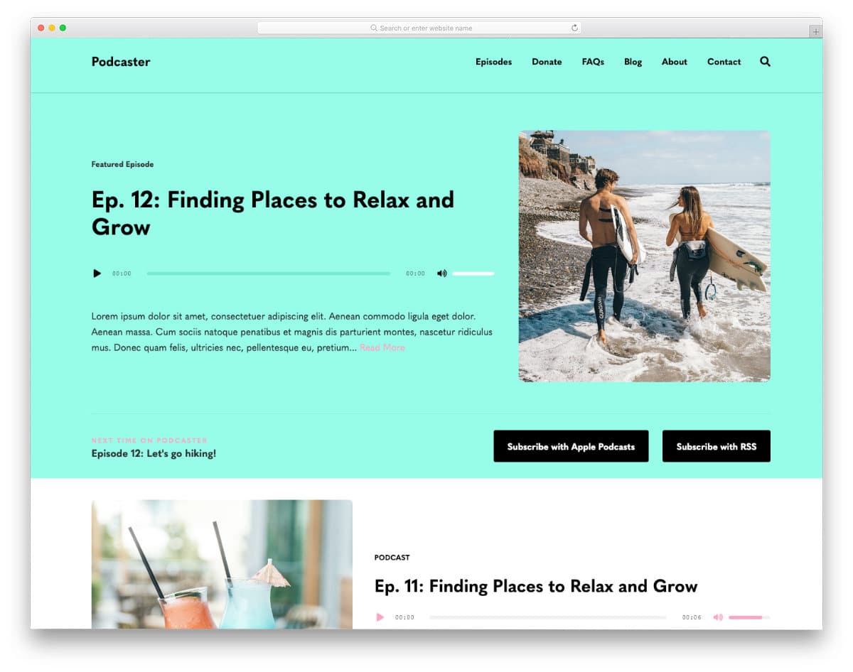 podcast website templates with vibrant colors
