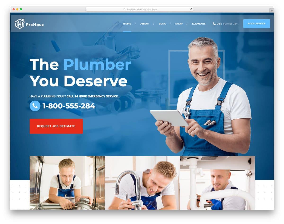 plumbing website templates with online booking options