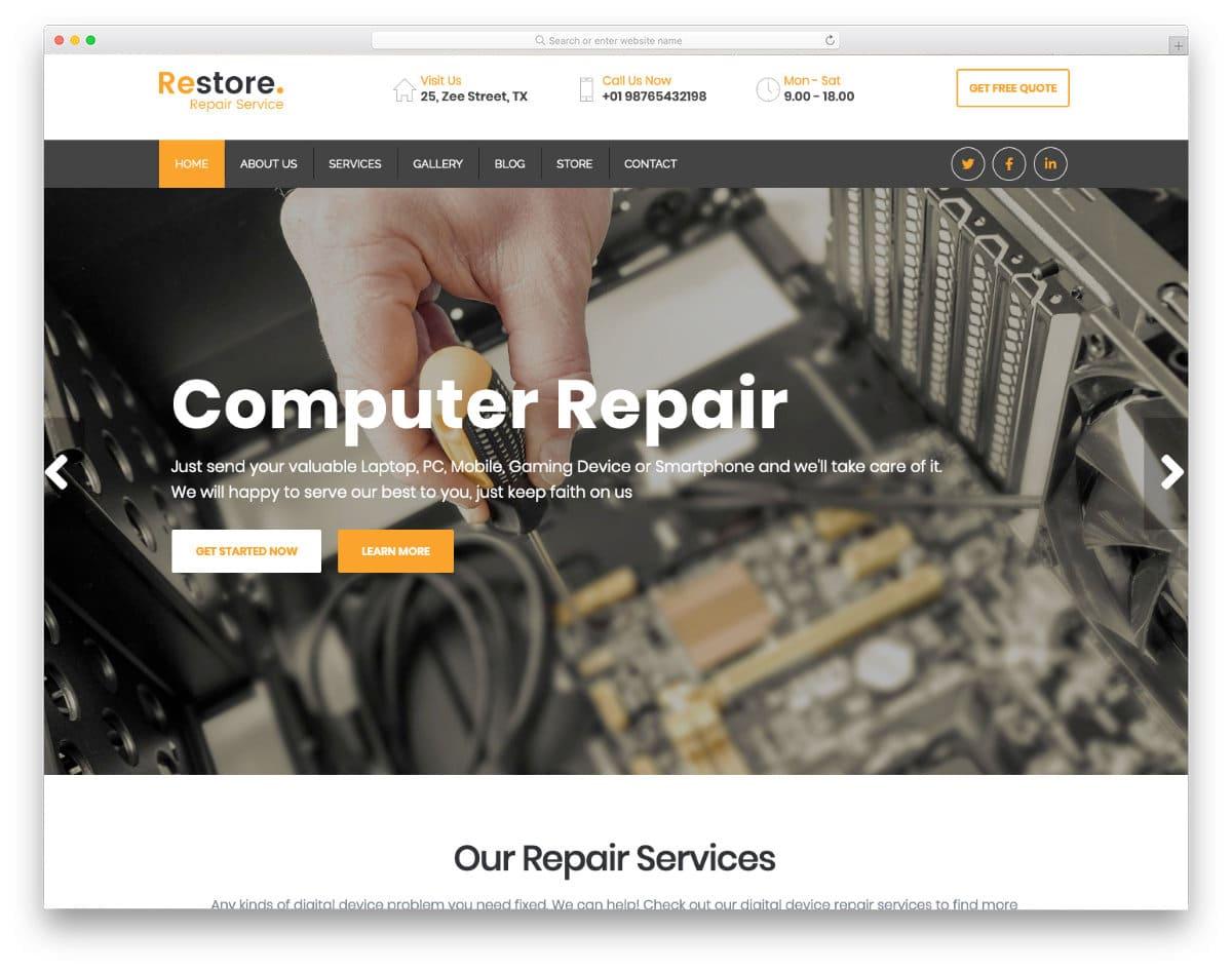 responsive computer repair web templates