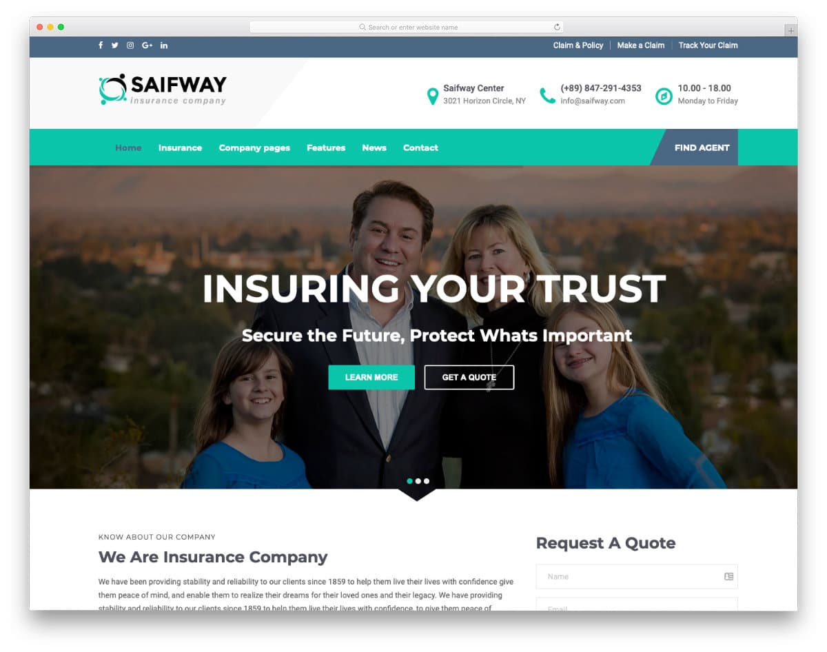 insurance website templates with useful features