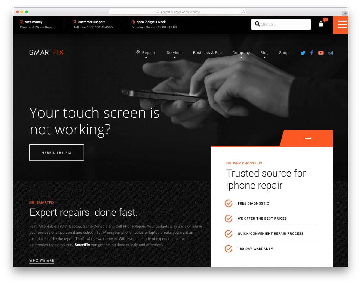 gadget fix website template