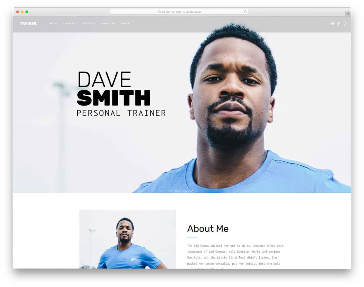 free fitness website template for personal trainers