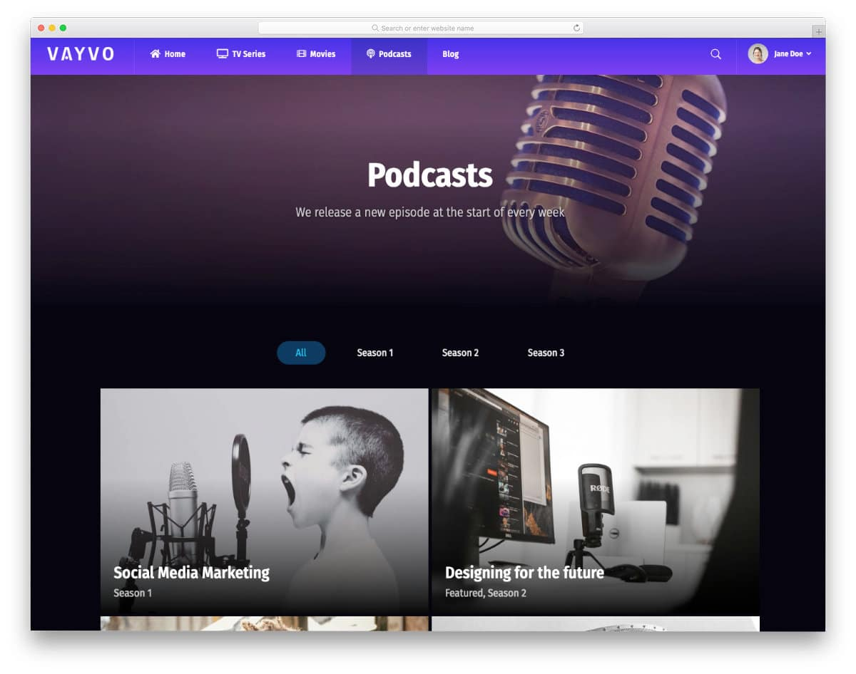 multipurpose live streaming website template