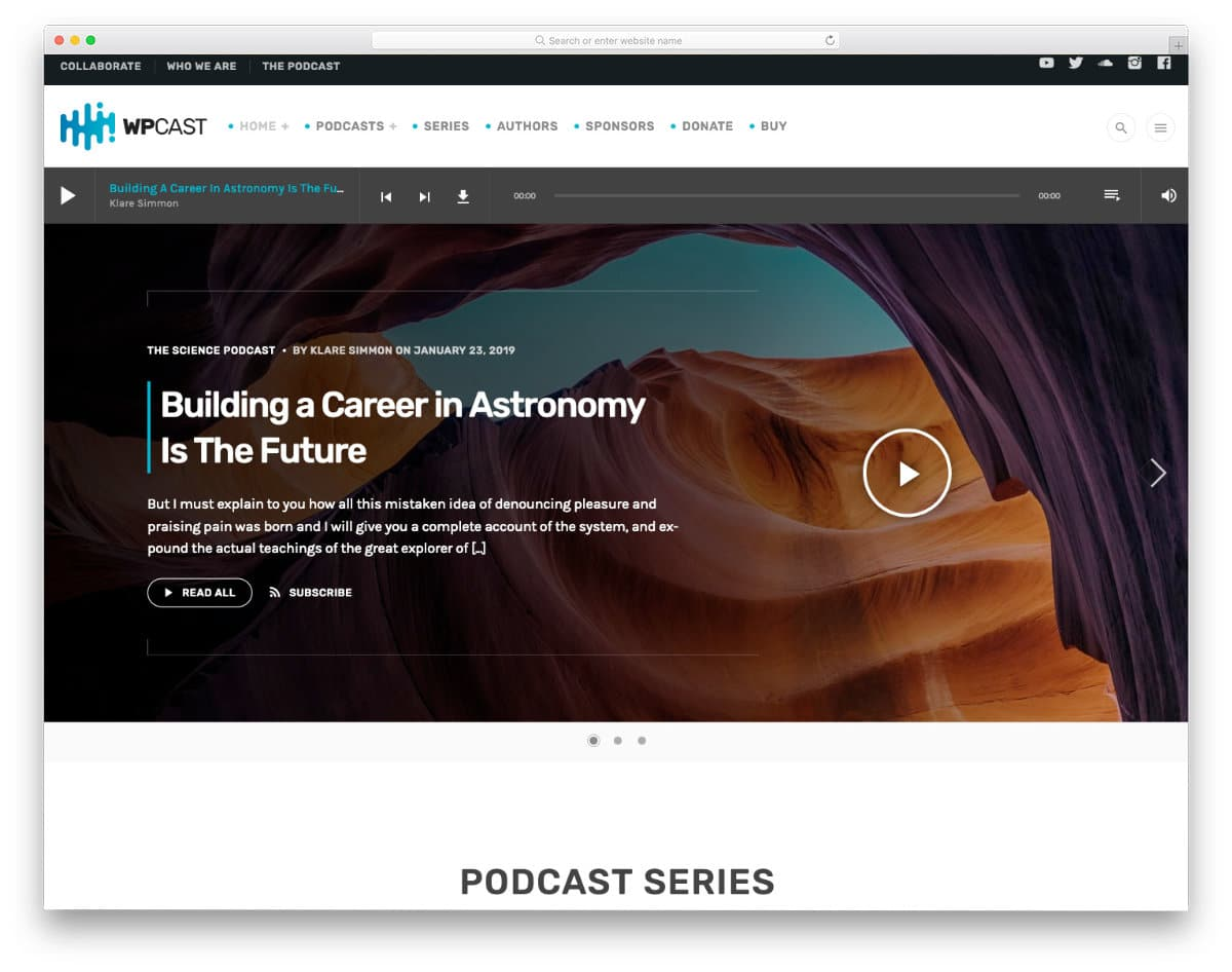 podcast website template with easy-to-access archive design