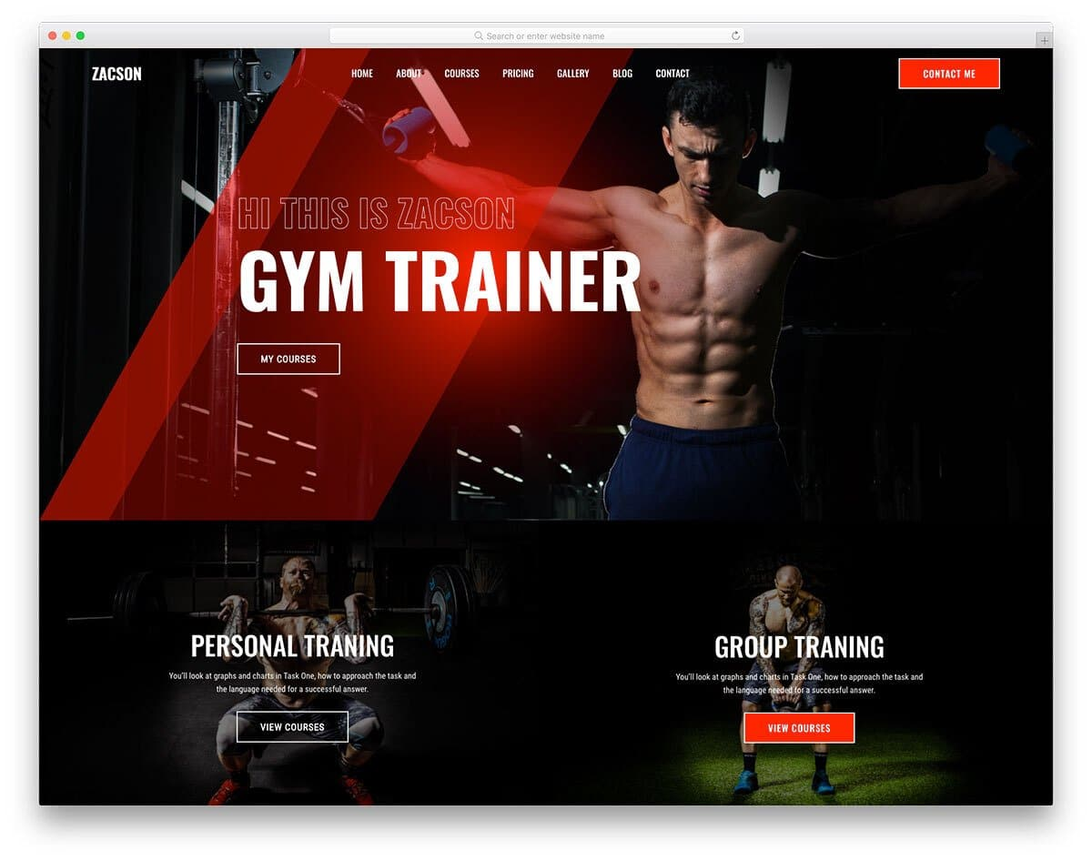 dark-theme fitness website template