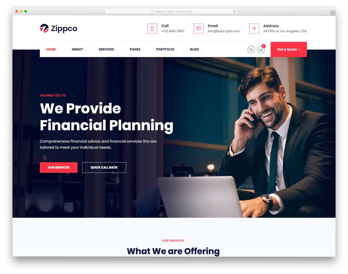 website template with a trendy design