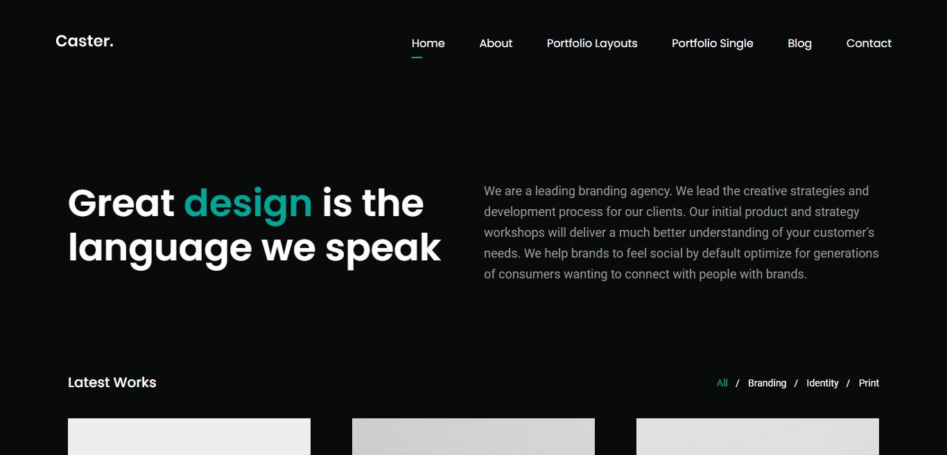 caster-dark-website-template