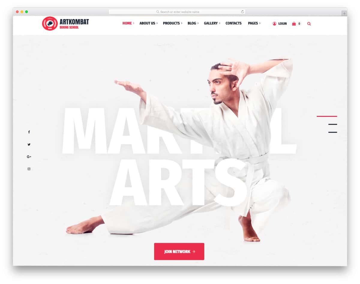 clean martial arts website templates