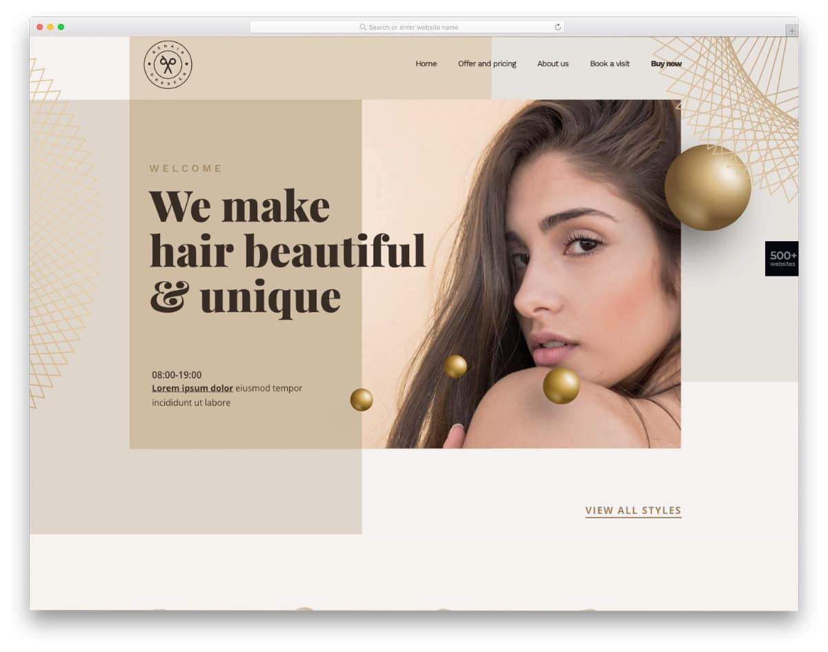 easy-to-edit hair salon websites templates