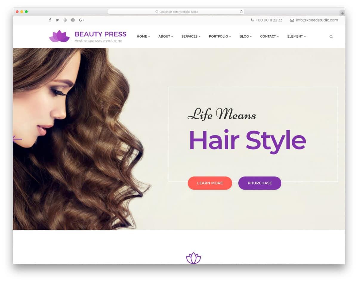 elegant hair salon websites templates