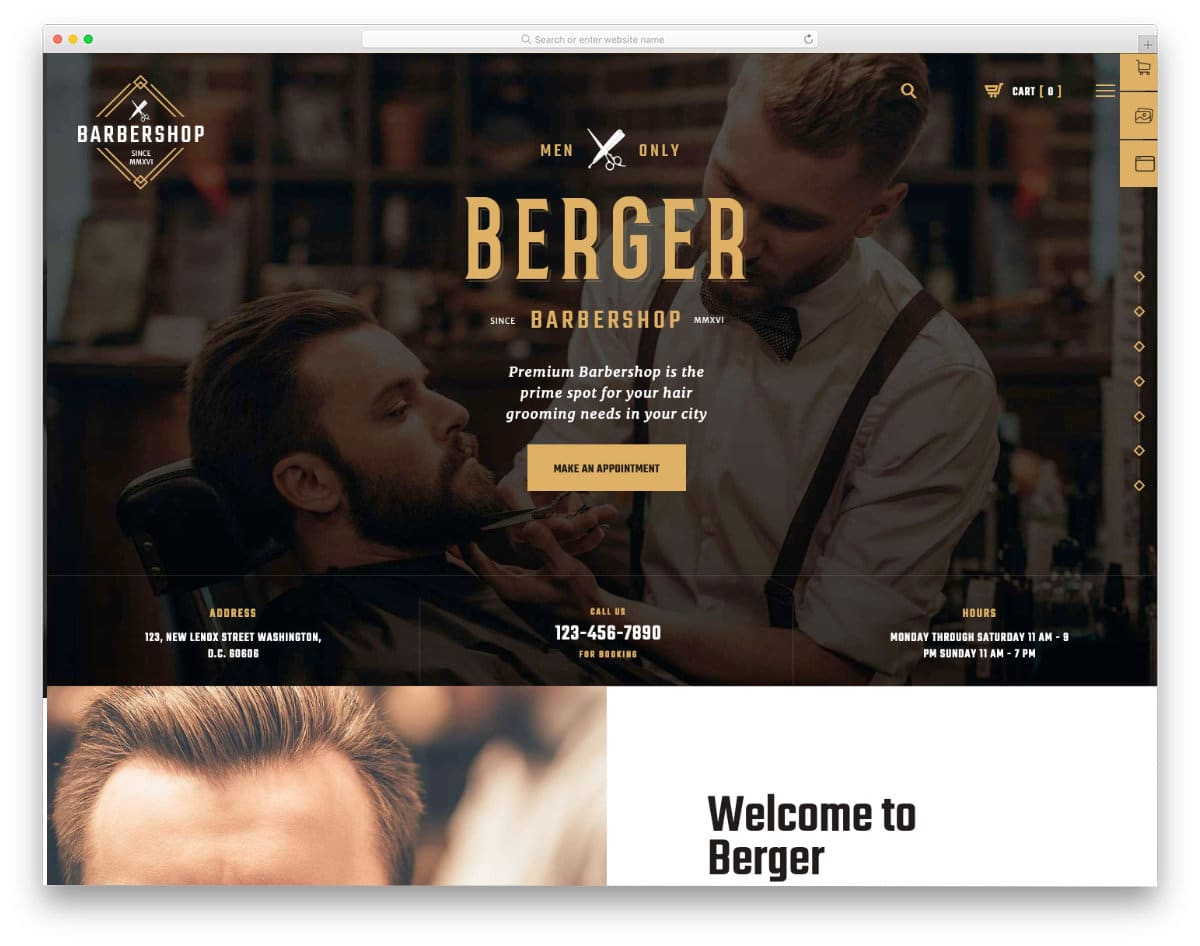barber and hairstylist website template