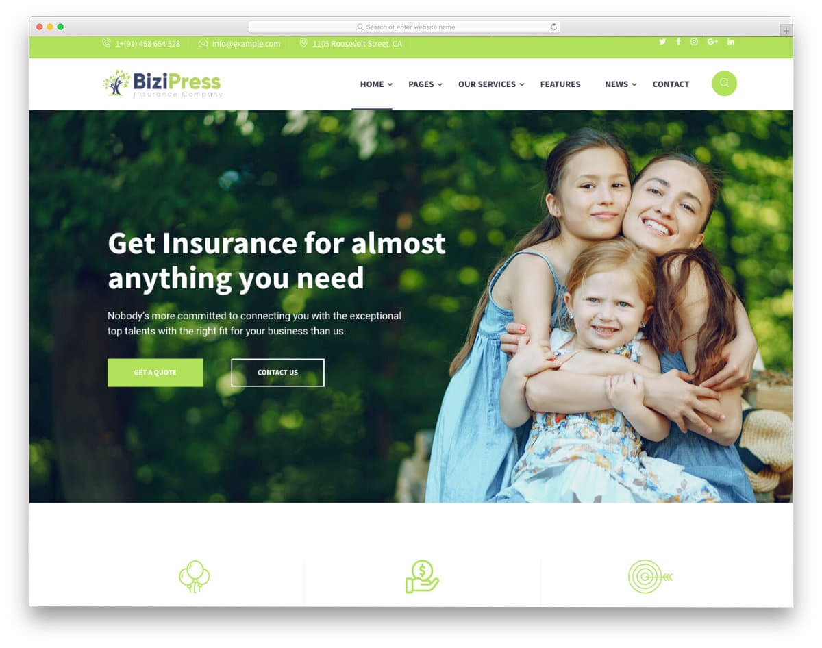 insurance website template for all types of insurance services