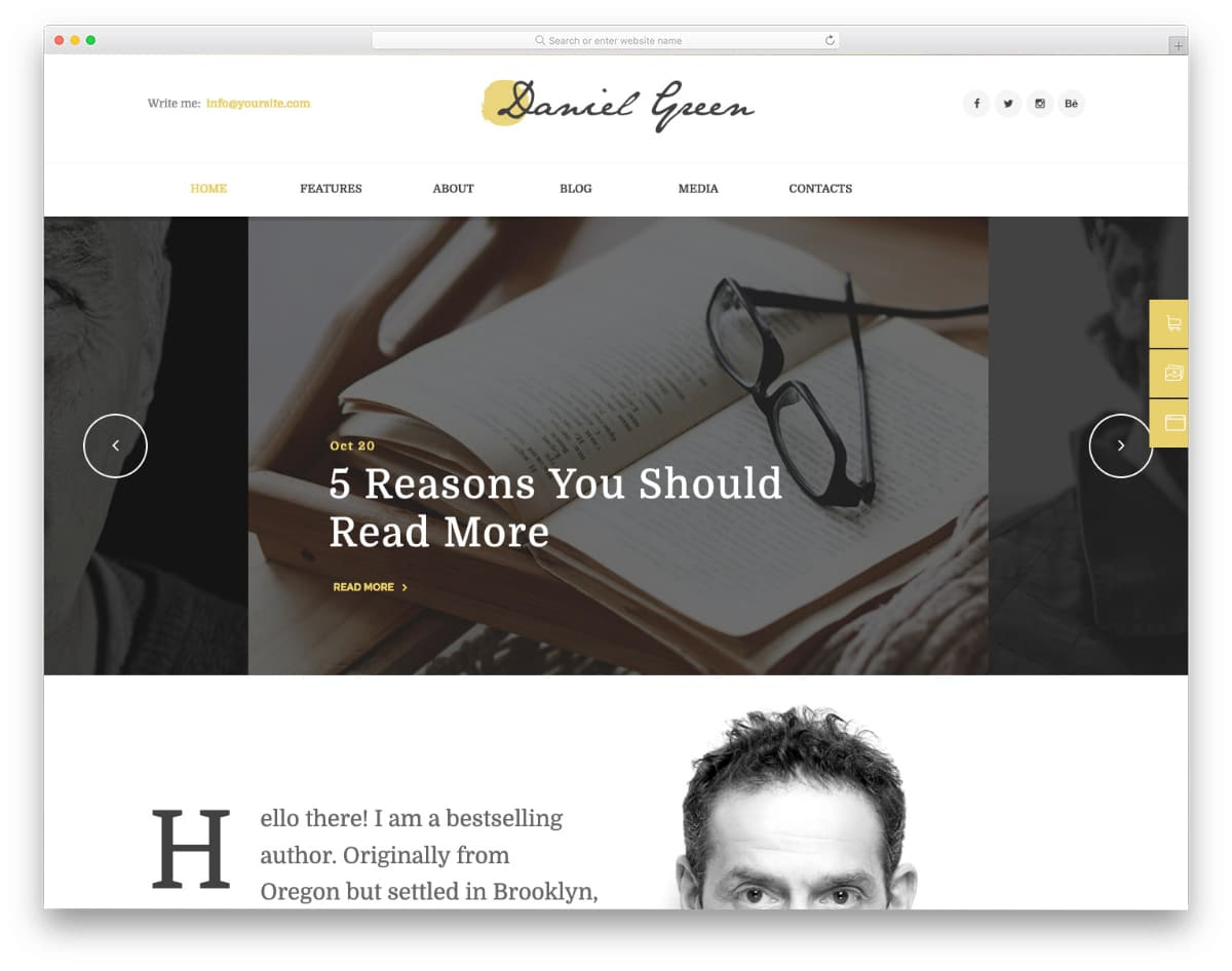website template for writers