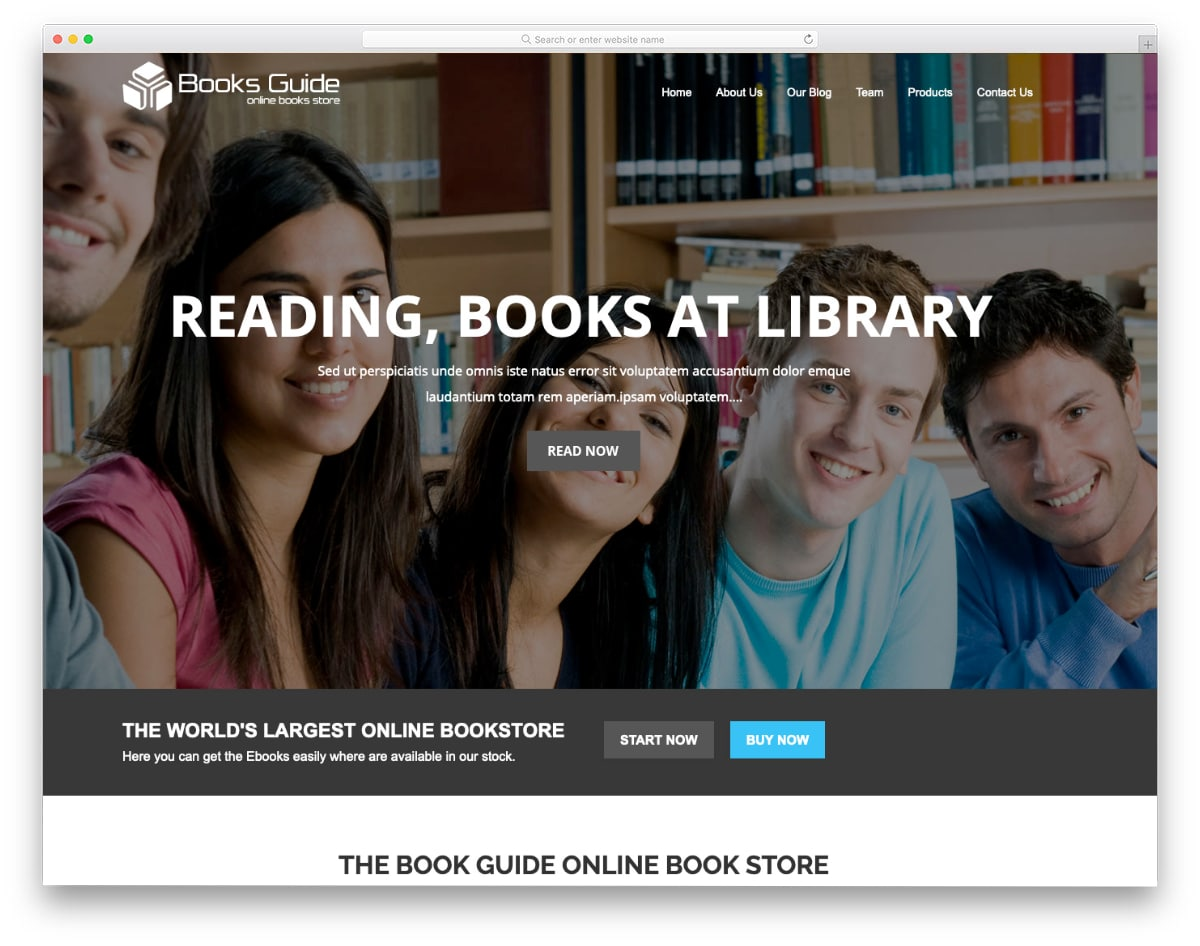 simple bookstore template