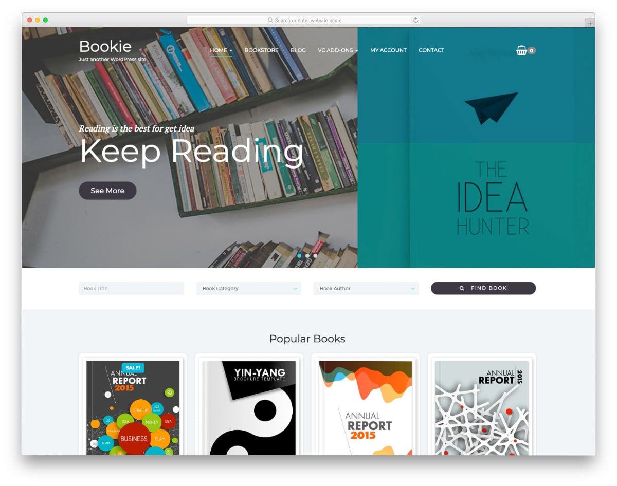 books website templates with useful options