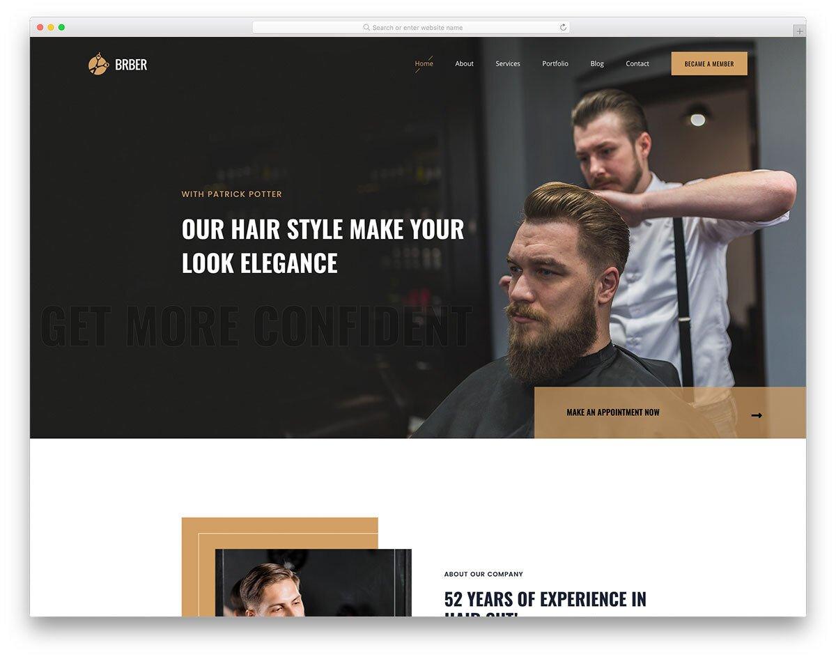 bold hair salon website template