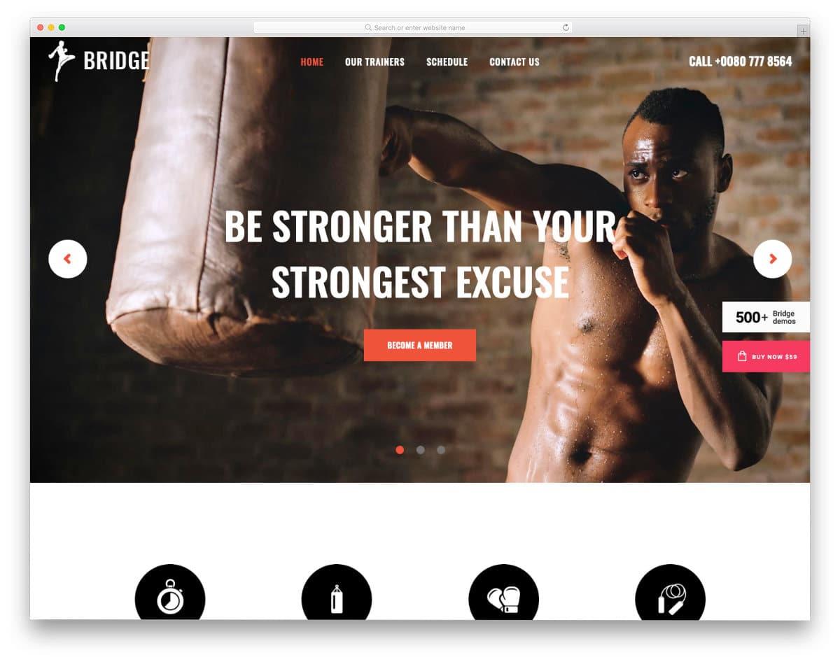 martial arts training website template
