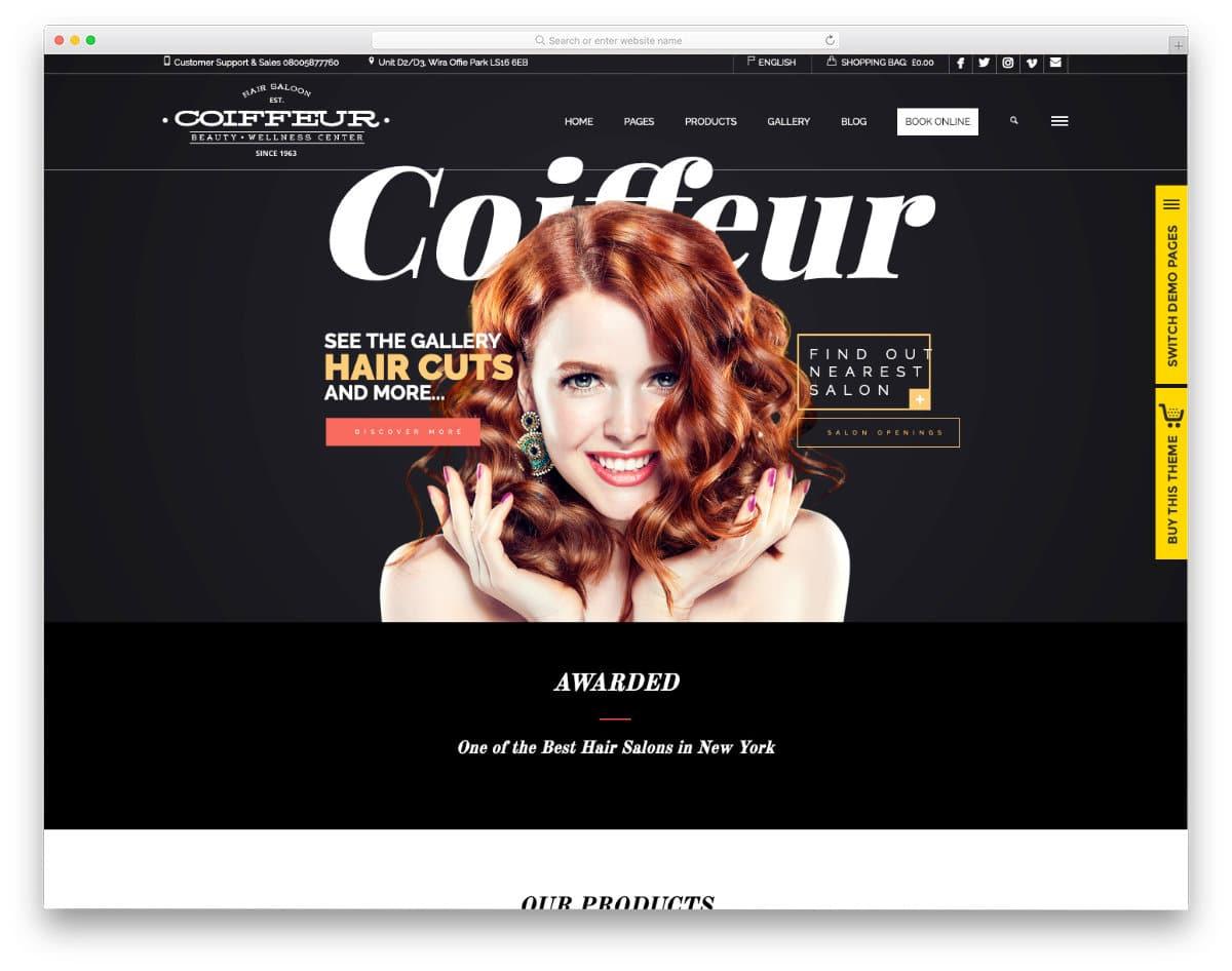 hair salon websites templates with useful options