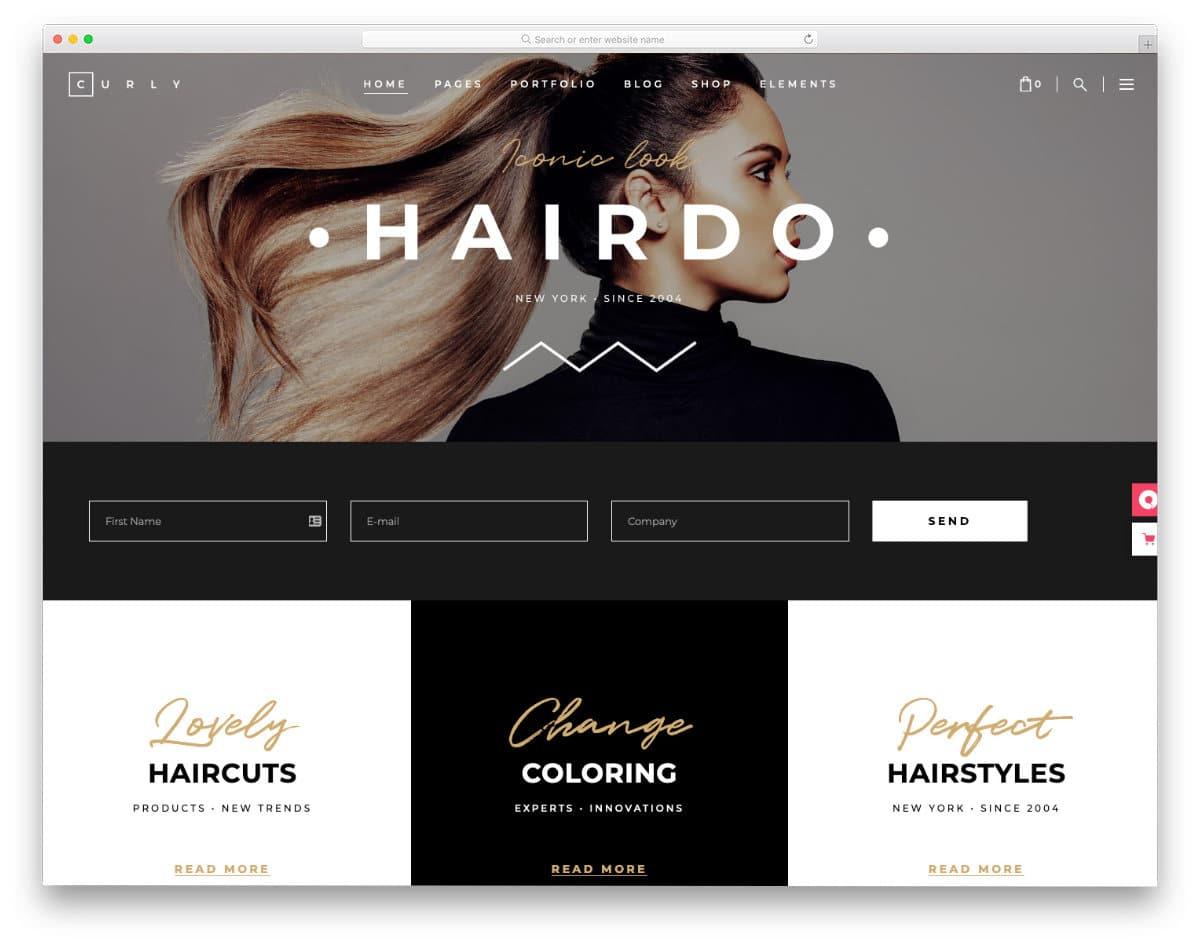 hair salon websites templates with contemporary design