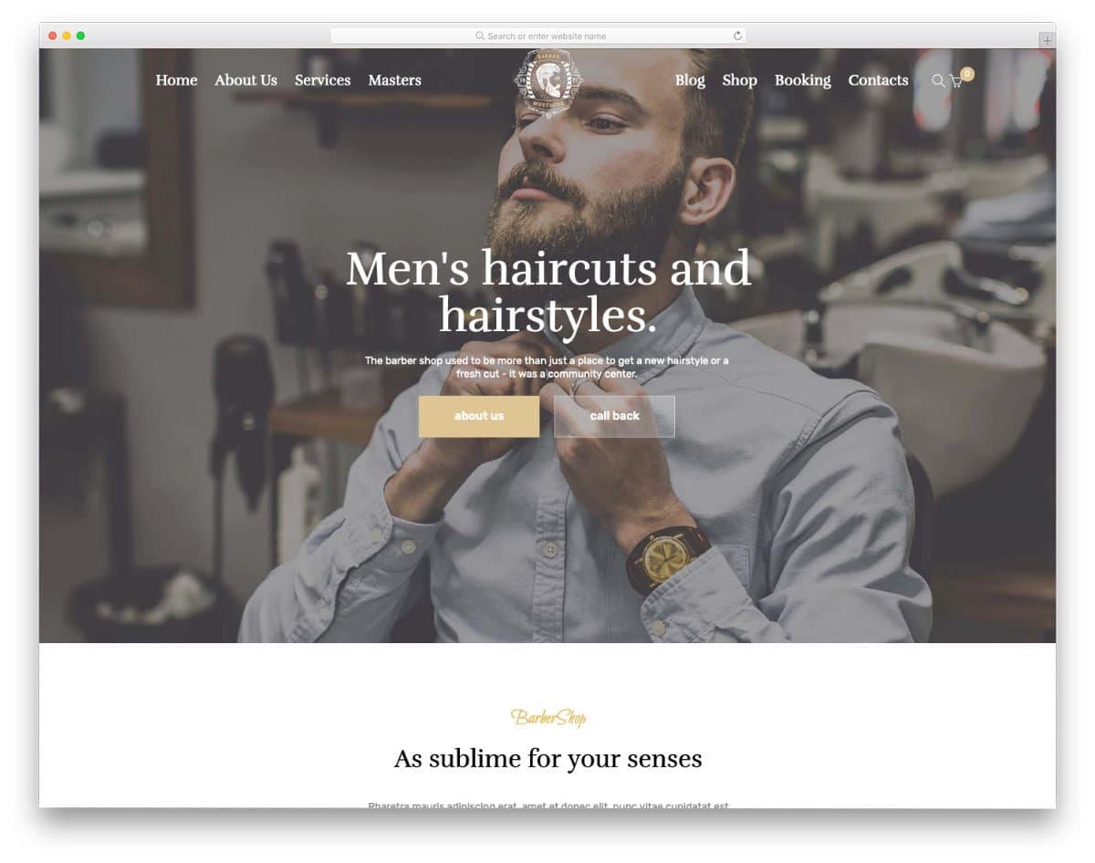 men's hairstyle salon website template
