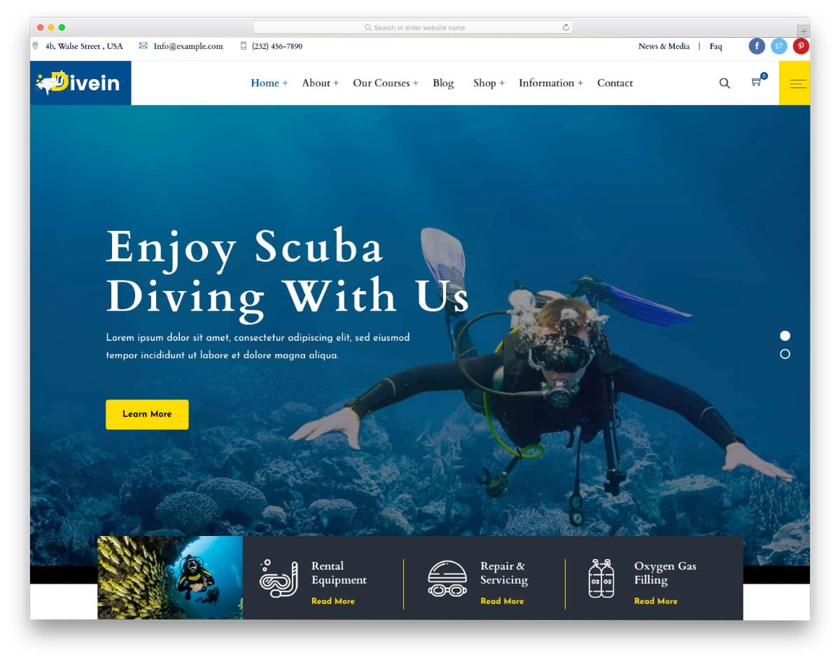 water sports website templates