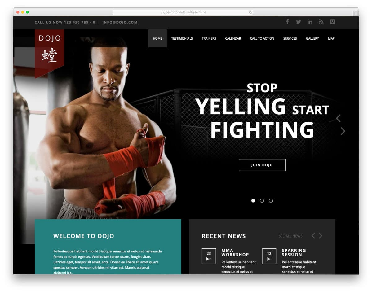 martial arts website templates html