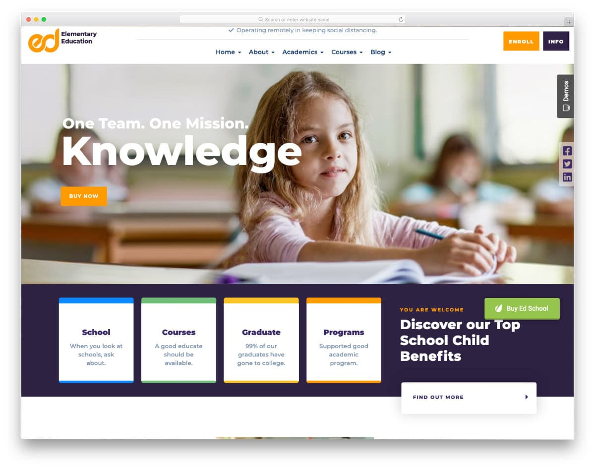 kids school website templates with online teaching features