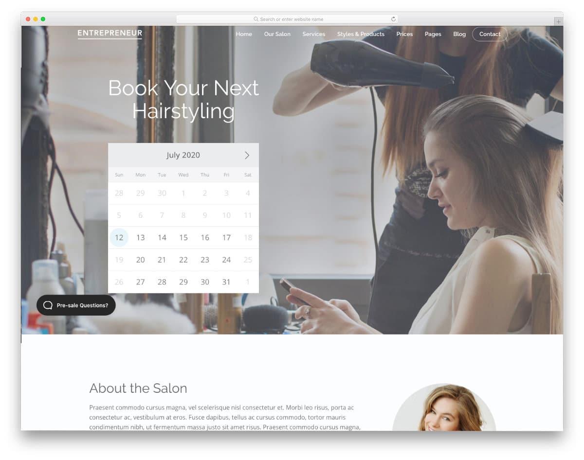 multipurpose salon website template