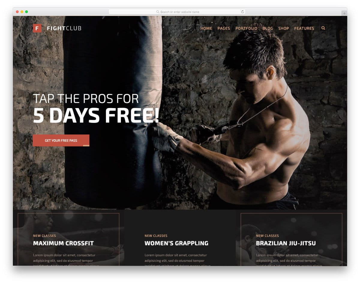 martial arts website template for MMA, boxing, and fight clubs