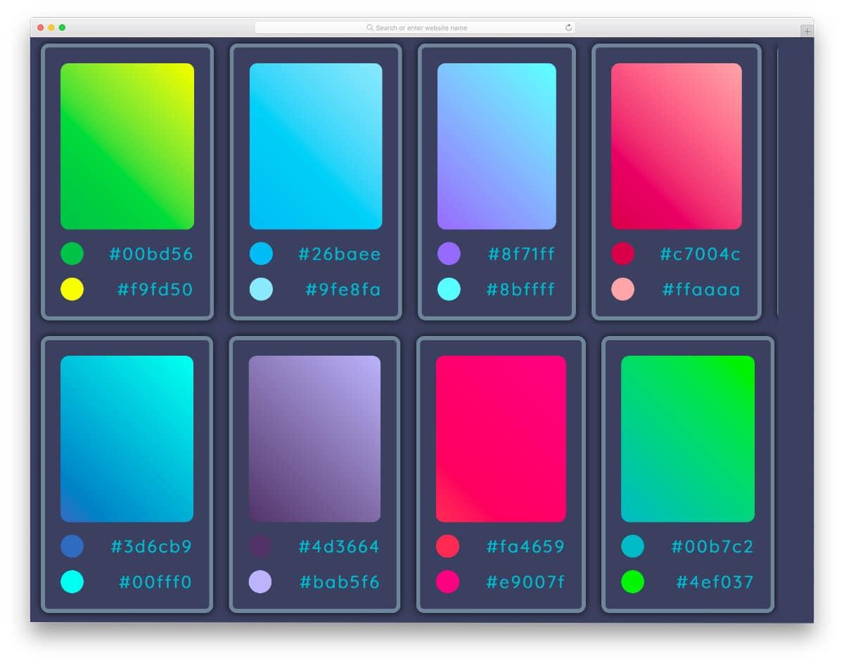 gradient color palette CSS design example