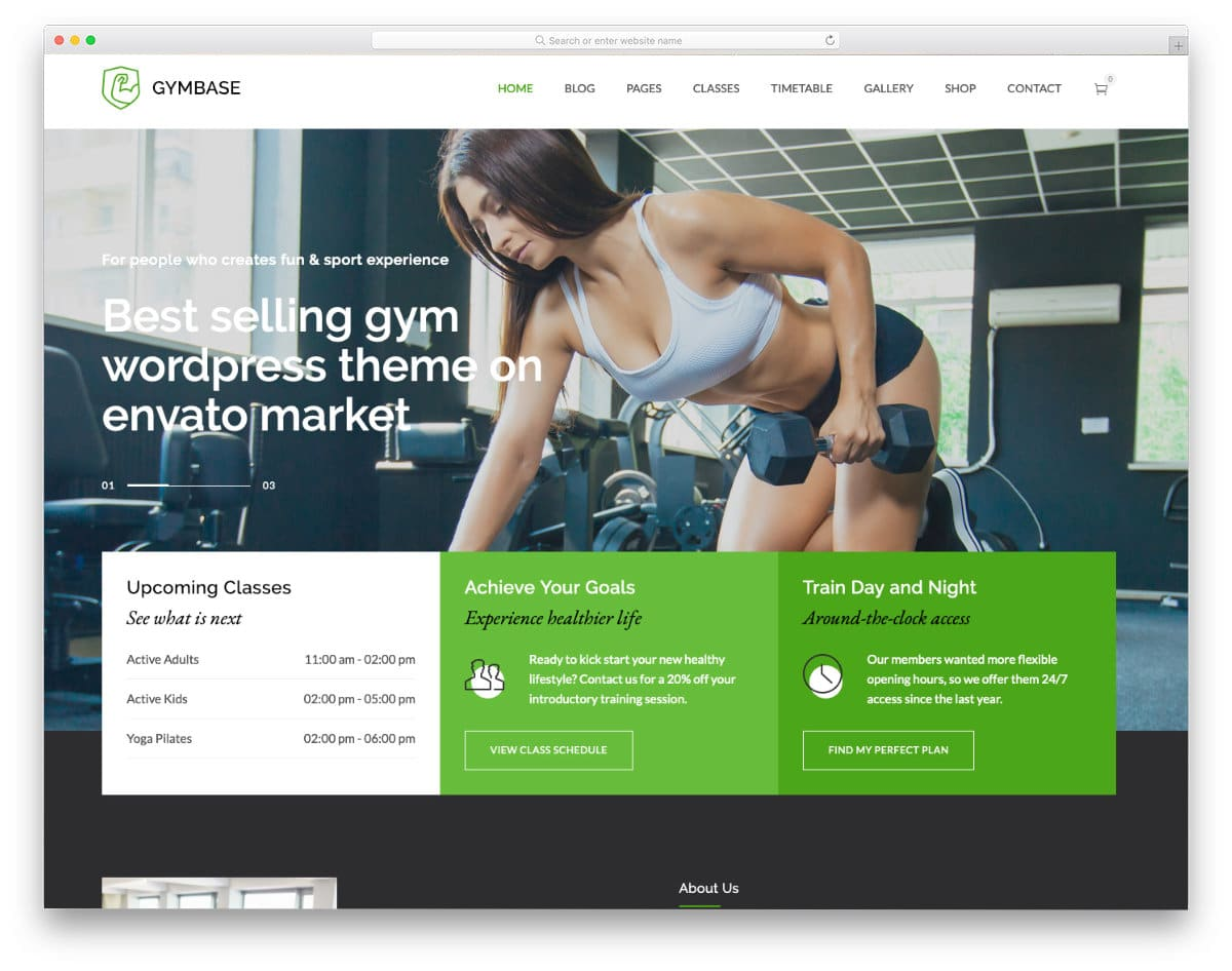 fitness website template with a sensible design