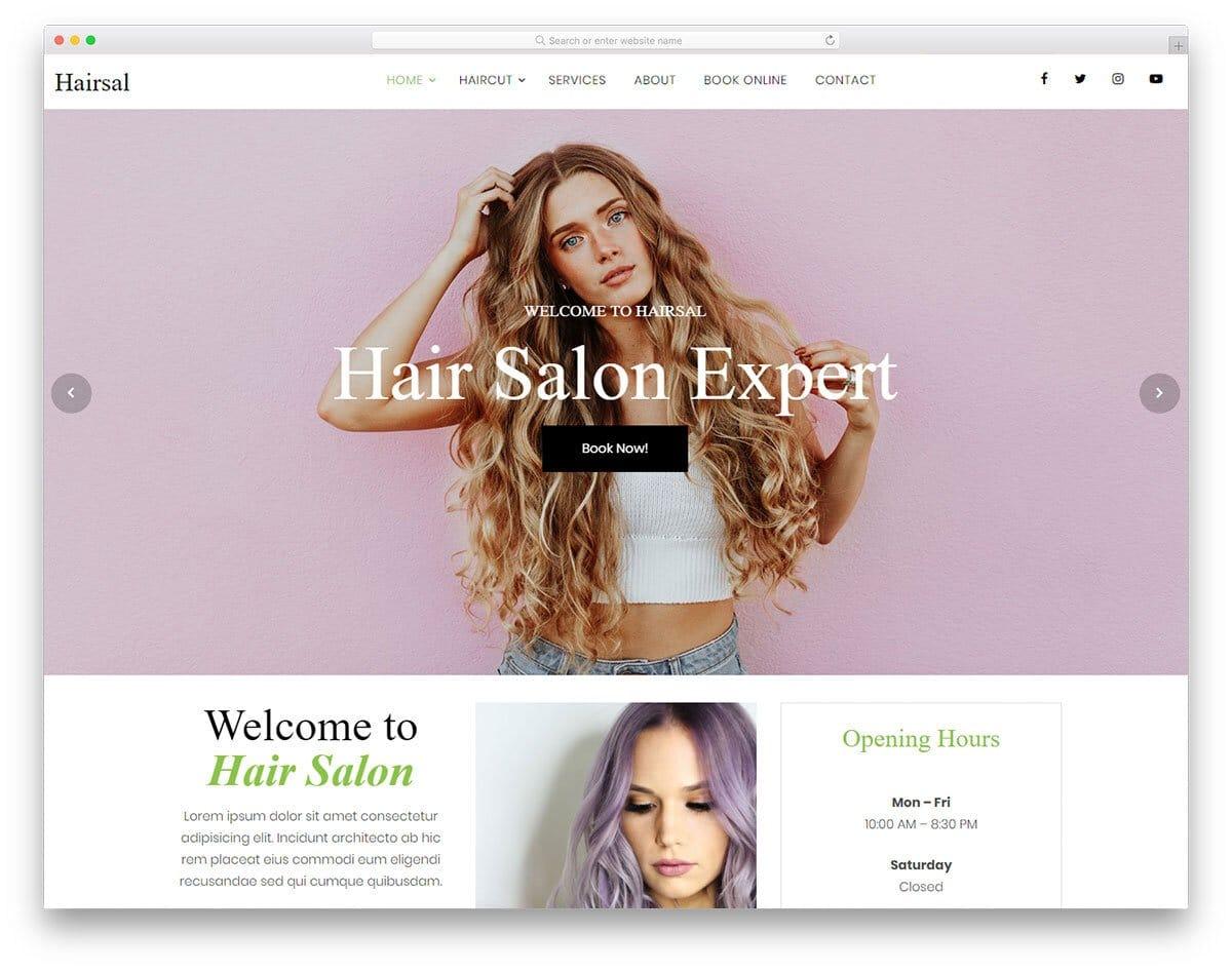 sensibly designed HTML hair salon website template