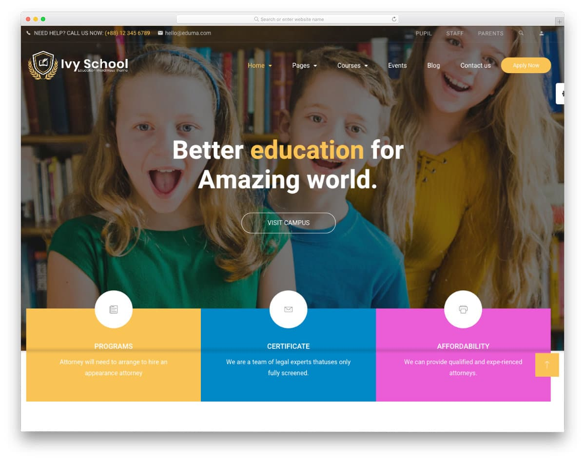 professional-looking education website template