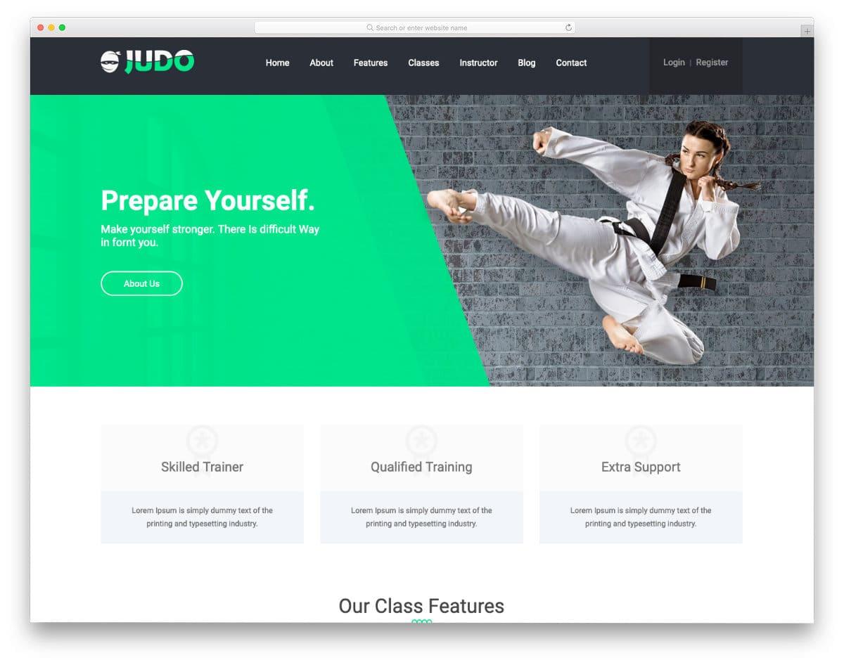 judo martial arts website templates html