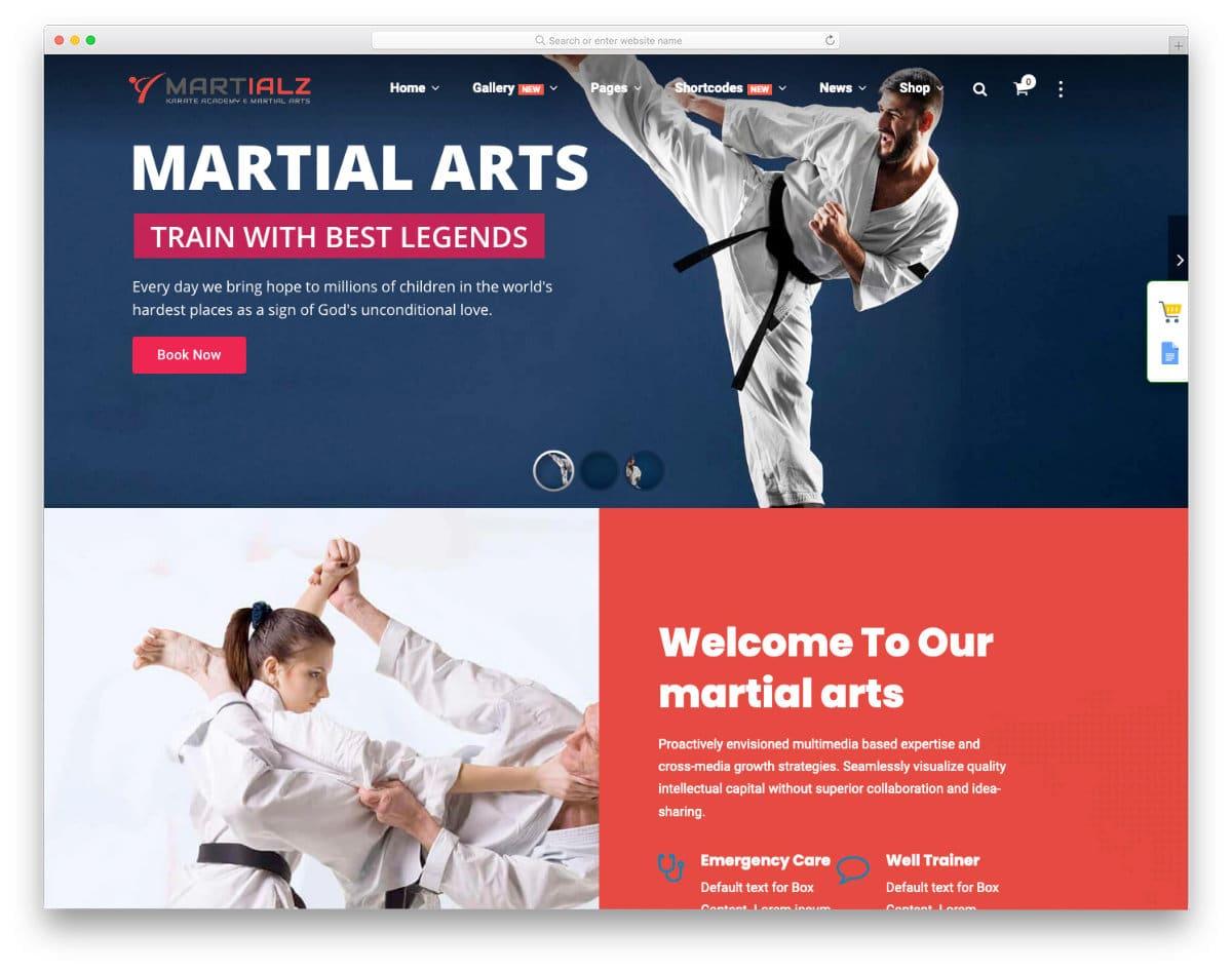 karate martial arts website templates