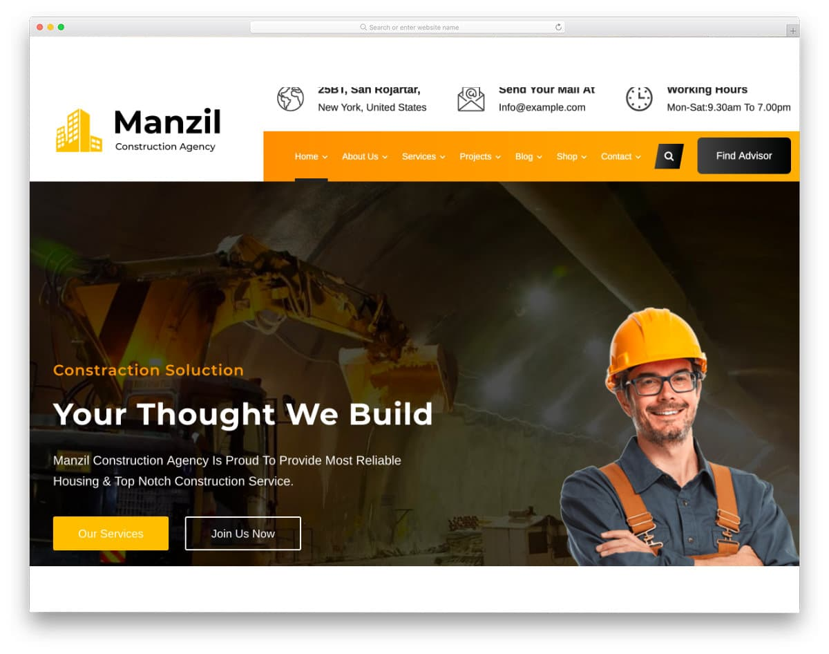 construction and services website template