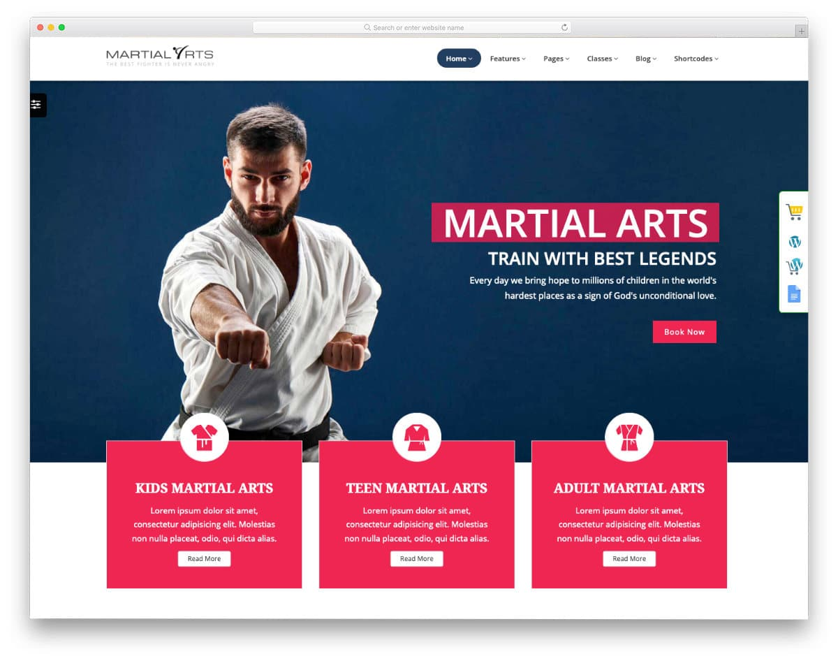 karate html website template